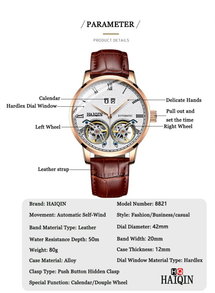 Haiqin Mechanical Wrist Watch Tourbillon Product Details