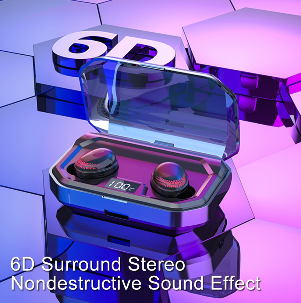 6D Surround Sound Bluetooth Wireless Sports Earbuds 2020