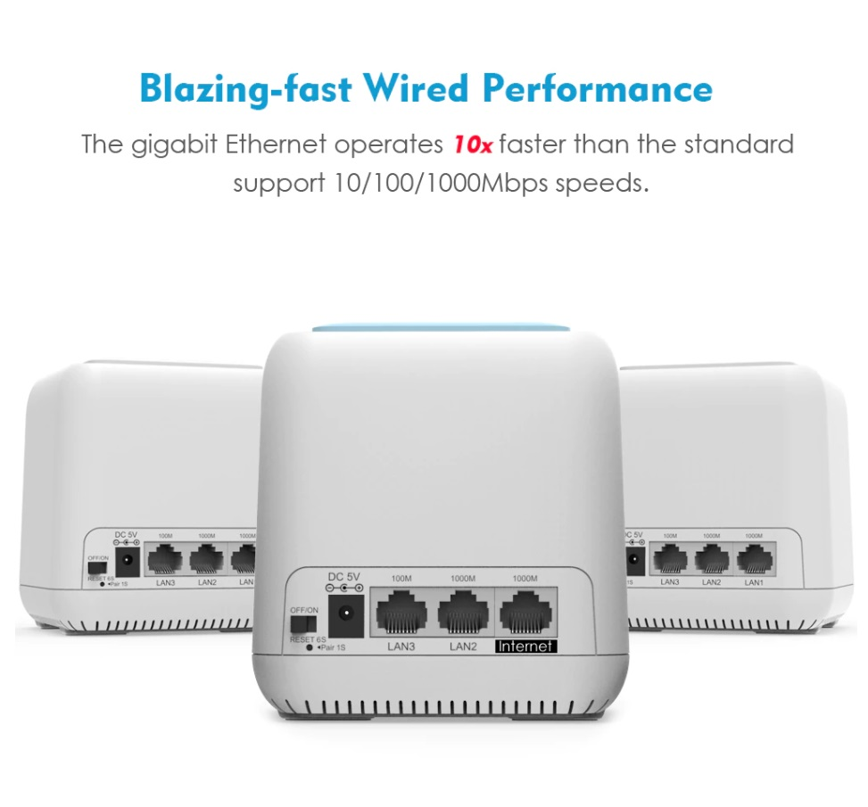 Wavlink AC1200Mbps Mesh Router Whole Home Wi-Fi Smart Mesh System Gigabit speed